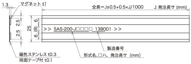 """式线性编码器磁性刻度""""SAS-200"""
