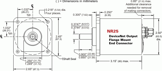 NR25 = DeviceNet Single-turn and Multi-turn, Flange Mount, End Connector