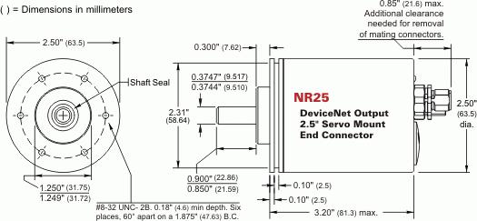 NR25 = DeviceNet Single-turn and Multi-turn, Servo Mount, End Connector