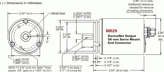 NR25 = DeviceNet Single-turn and Multi-turn, 58mm Servo Mount, End Connector
