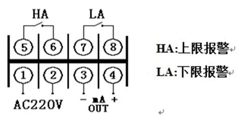 旋开仪表后盖,可见两排八个接线端子