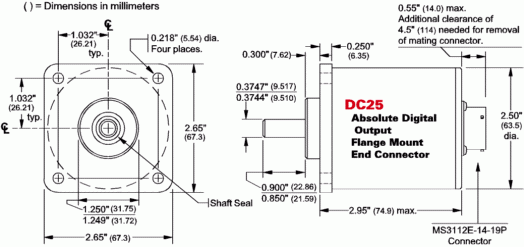 DC25F-XXXXXE - Flange mount, End connector