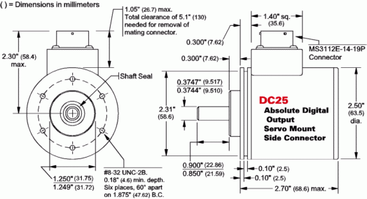 DC25S-XXXXXS - Servo mount, Side connector