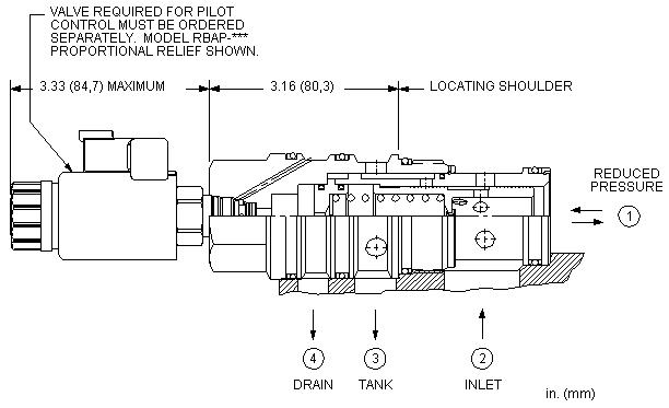 PVJA8 : 先导控制式, 减压/溢流 主级 带集成T-8A控制插孔 和 口4外泄